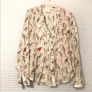 Maeve AnthropologieBird Lithograph Print blouse